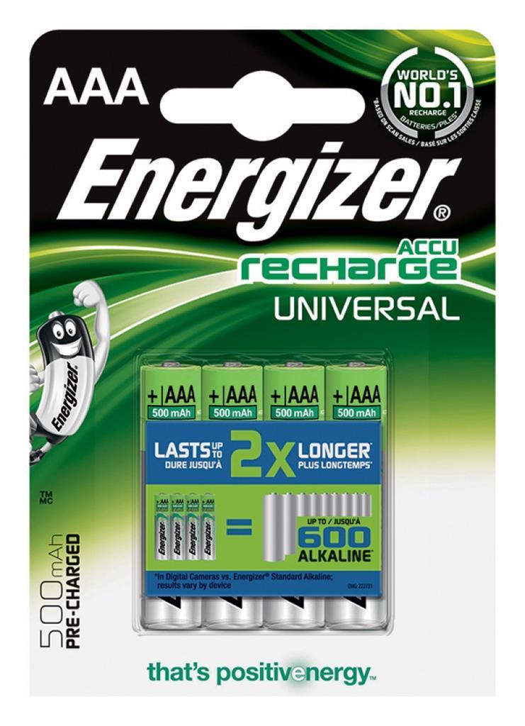 Dobíjecí baterie, ENERGIZER Universal, AAA, HR03, 1.2V, 500mAh, 4 ks