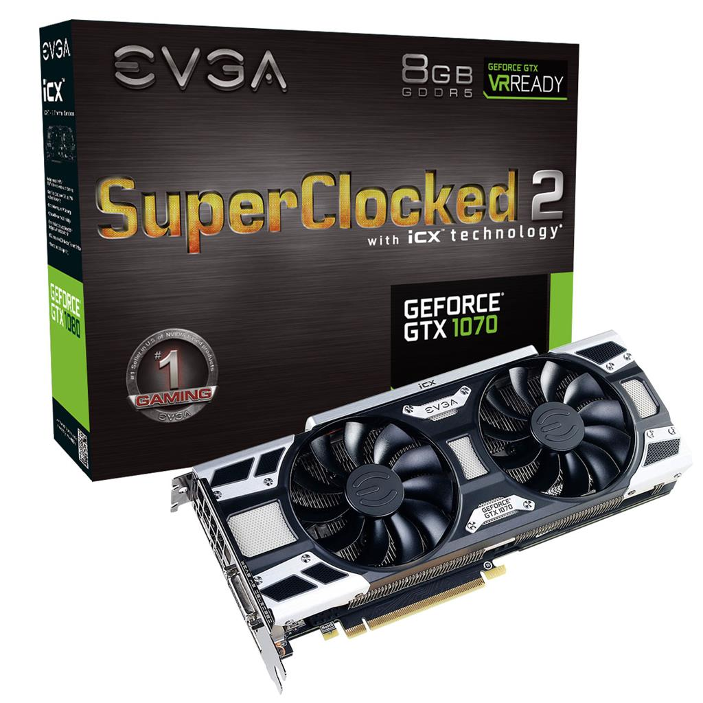 EVGA GeForce GTX 1070, 8GB, 3DP+HDMI+DVI-D