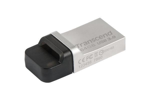 Transcend Jetflash 880 OTG flashdisk USB 3.0 64GB, USB + micro USB, kov,stříbrný