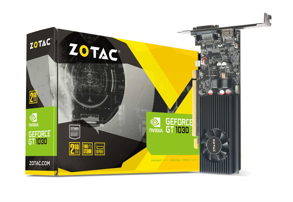 ZOTAC GeForce GT 1030 Low Profile, 2GB GDDR5, ATX/LP, DVI-D, HDMI 2.0b