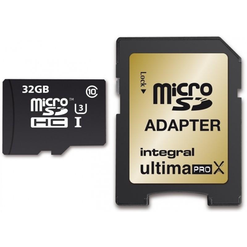 Integral 32GB micro SDHC SDXC Cards C10 - Ultima Pro X- UHS-1 U3 90/90 MB/s