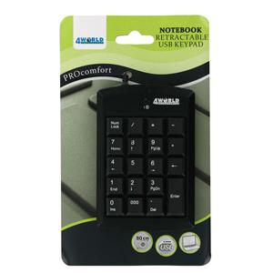 4World Numerická klávesnice na USB super mini, US, s navíjecím kabelem