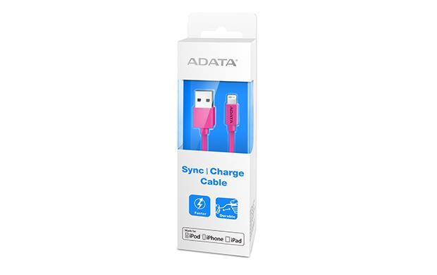 ADATA Synchronizační a napájecí kabel, USB, MFi (iPhone, iPad, iPod), rúžový