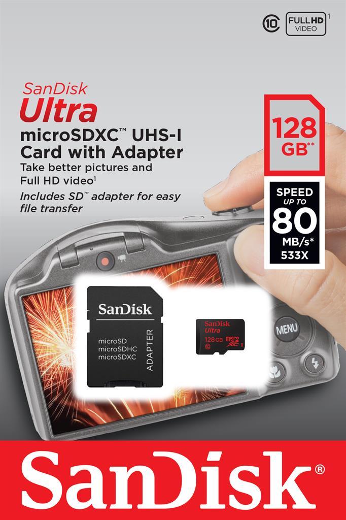 SanDisk ULTRA paměťová karta microSDXC 128GB UHS-I, čtení: až 80MB/s