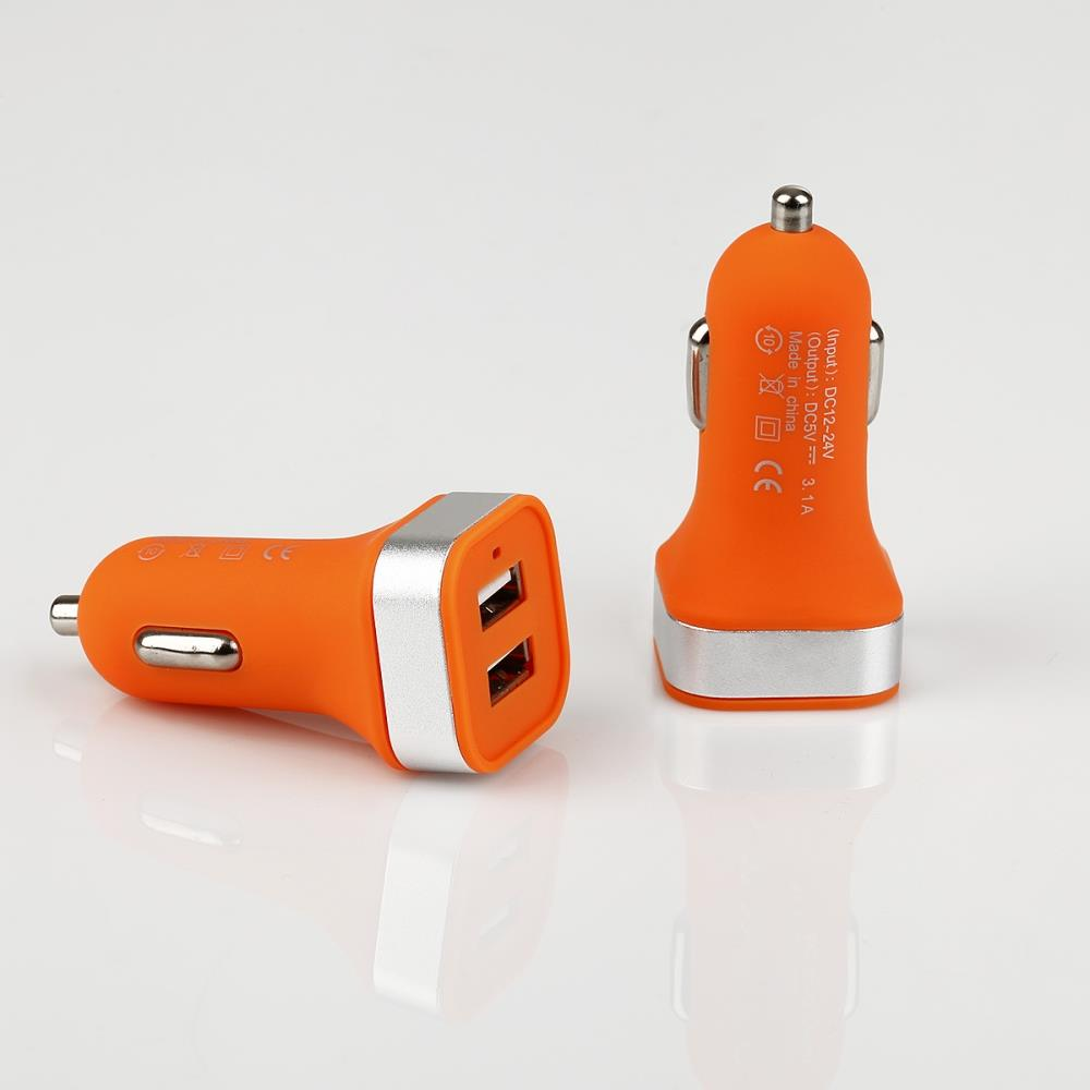GT PRO mini nabíječka do auta 3.1A 2x USB, oranžová