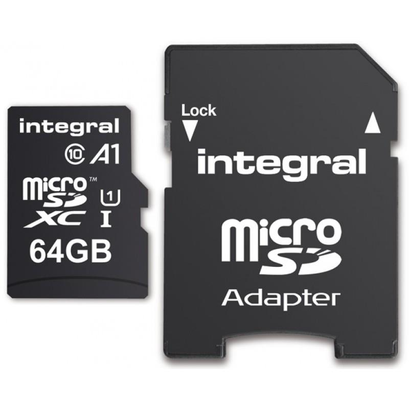 Integral microSDHC/XC A1 App Performance 64GB (with Adapter to SD Card)