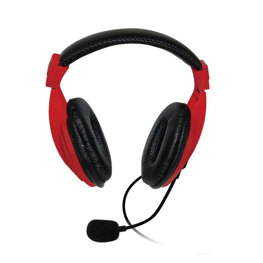 VAKOSS Stereofonní sluchátka s mikrofonem, na uši, ovládání hlasitosti červený