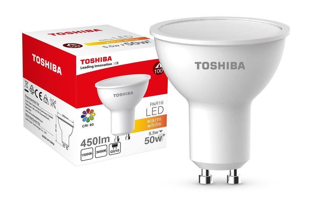 TOSHIBA PAR16 | 5,5W (50W+) 450lm 3000K 80Ra ND 120D GU10