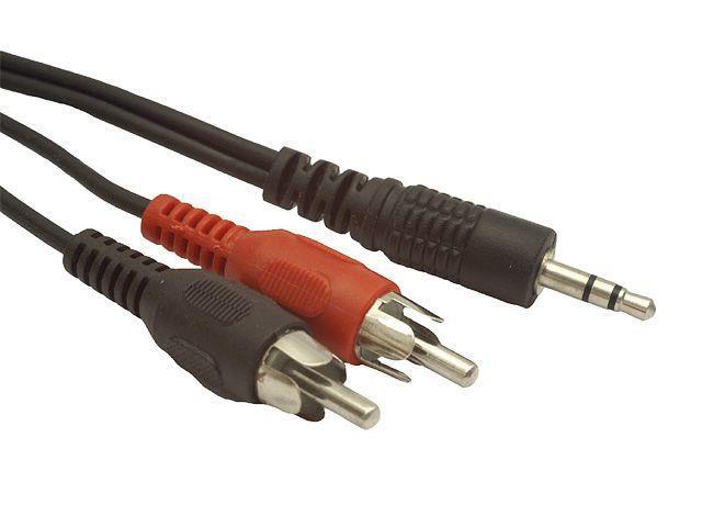 Natec stereo audio kabel 3.5mm mini-jack/2x RCA M/M (chinch) 2.5m, blister