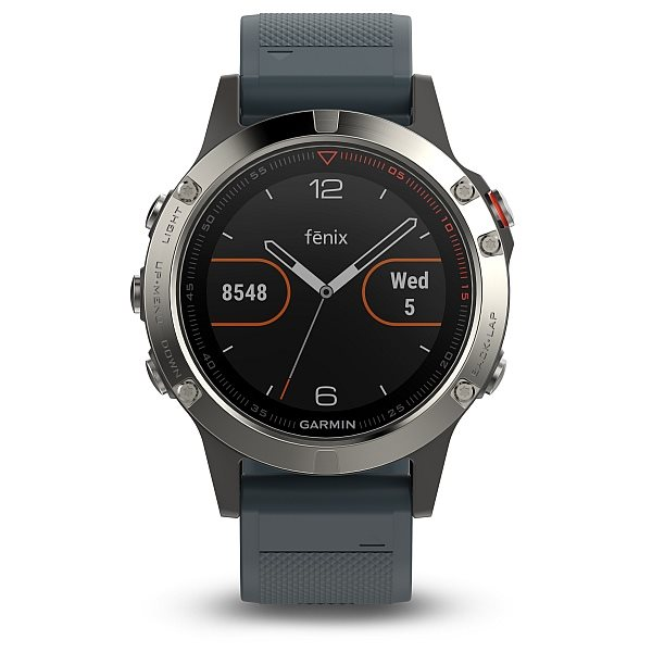 Garmin fenix5 Silver Optic, Granite Blue band