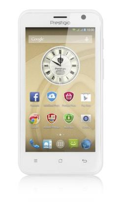 "PRESTIGIO MultiPhone 3450 DUO, 4.5"" IPS, Dual SIM, Android 4.4, Quad Core 1,3GHz, 4GB ROM,512MB RAM,MicroSD, bílý, bazar"