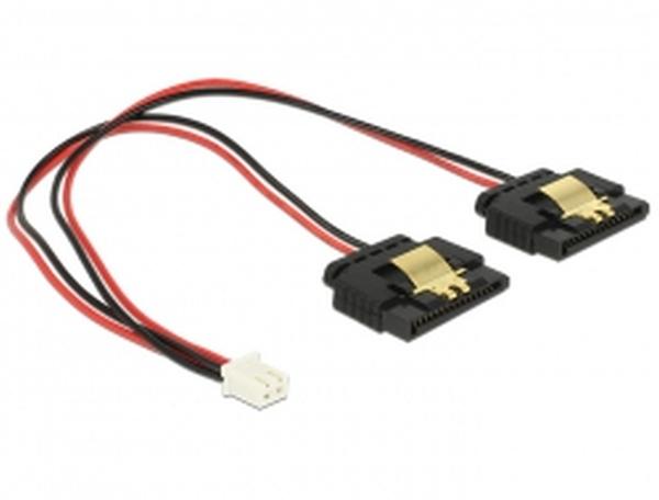 Delock Napájecí kabel 2 pin samice > 2 x SATA 15 pin samice (5 V) kovová spona 20 cm