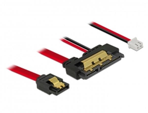 Delock Kabel SATA 6 Gb/s 7 pin samice + 2 pin napájecí samice > SATA 22 pin samice přímý (5 V) kovový 10 cm