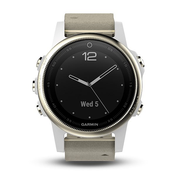 Garmin fenix5S Sapphire Goldtone Optic, Suede band