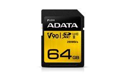 ADATA paměťová karta 64GB Premier One SDXC UHS-II U3 CL10 (čtení/zápis: 290/260MB/s)