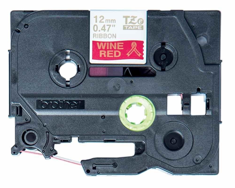 Brother - TZE-RW34 vínově červená / zlatá (12mm, 4m, pruhovaná)