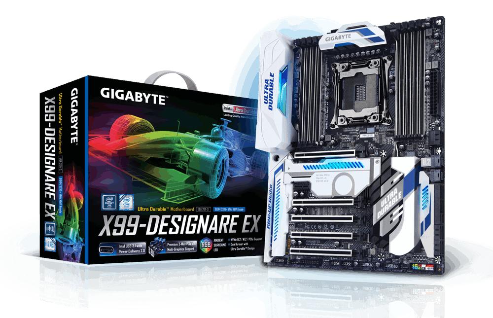 Gigabyte GA-X99-Designare EX, X99, QuadDDR4-2133, SATAe, SATA3, M.2, RAID, ATX