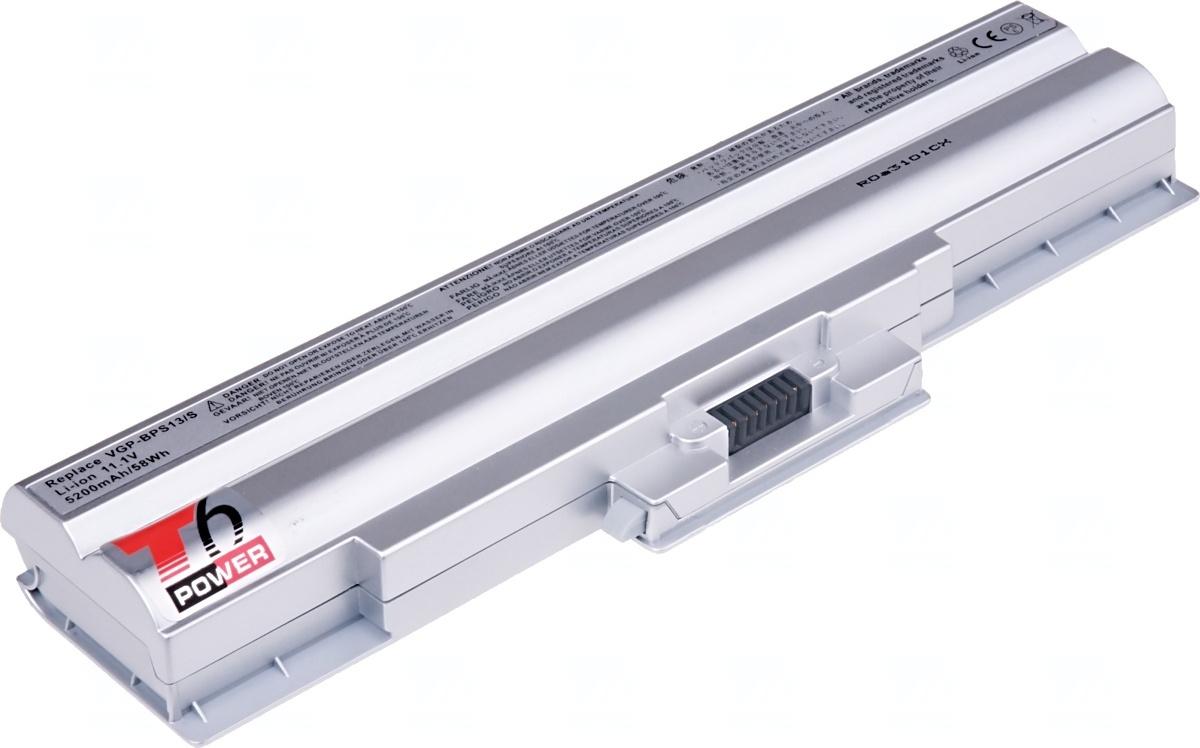 Baterie T6 power Sony Vaio VGN-CS, VGN-CW, VGN-FW serie, 6cell, 5200mAh, silver