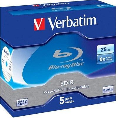 VERBATIM BD-R BLU-RAY 25GB box 5pck/BAL WORM