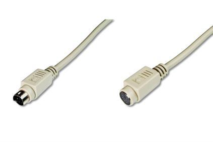 Digitus prodlužovací kabel pro PS/2 klávesnici,šedý, 2m