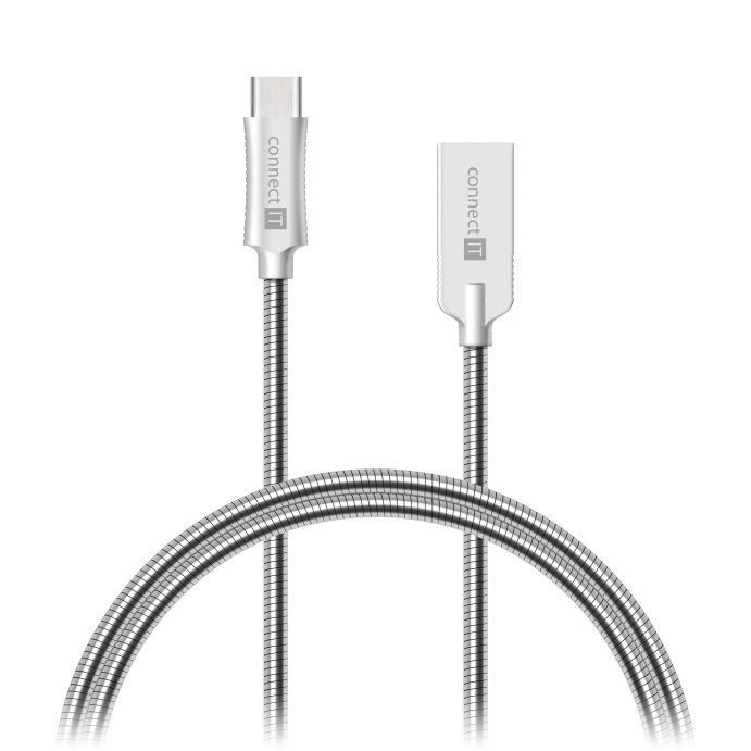 CONNECT IT Wirez Steel Knight USB-C (Type C) - USB-A, metallic silver, 2,1A, 1 m