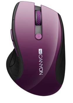 CANYON myš 2,4Ghz bezdrátová CMSW01, 000/1600 dpi, 6 tlačítek, blue LED senzor, fialová