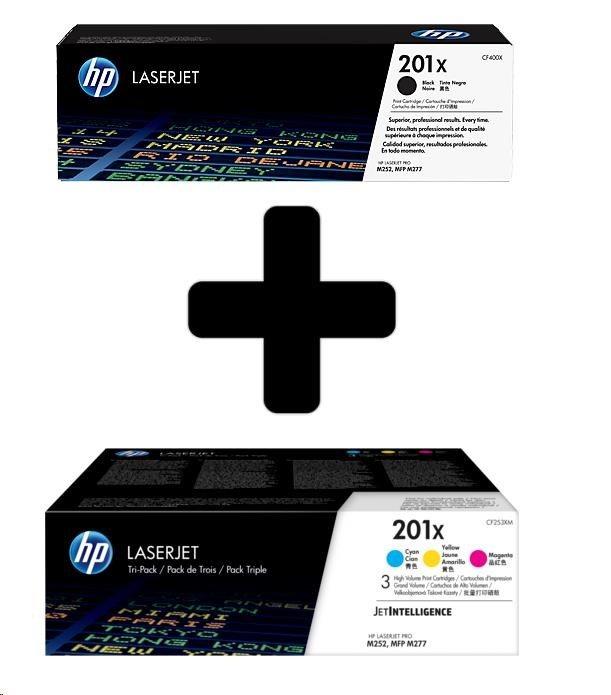 HP 201X 3-pack High Yield CMY + HP 201X High Capacity Black LJ Toner Cartridge (CF253XM+CF400X)