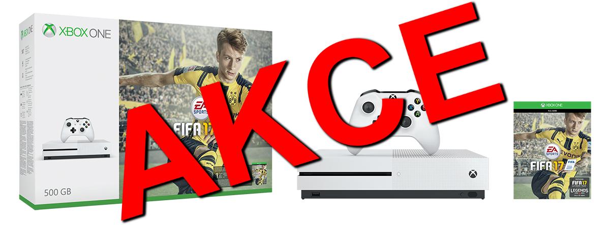 XBOX ONE S 500 GB + 1 x hra (FIFA 17) + 1 měsíc EA Access - akční výprodej