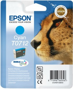 Inkoust Epson T0712 cyan DURABrite | Stylus D78/92/120/DX4000/4050/4400/4450/500
