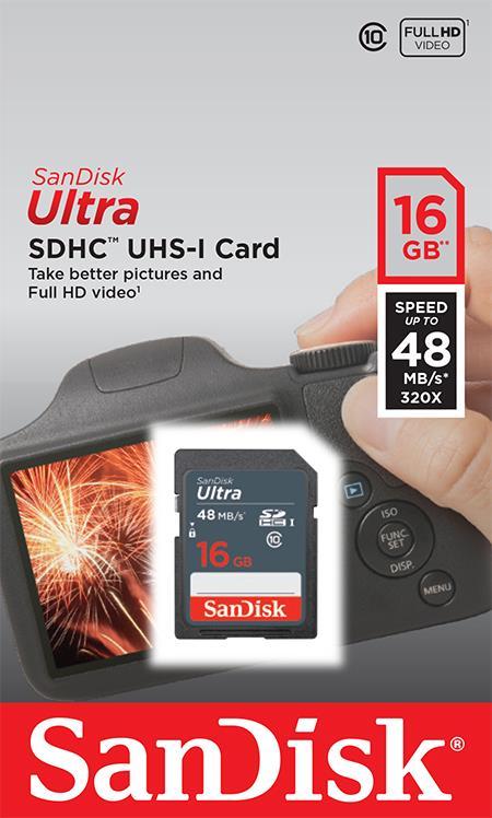 SanDisk Ultra paměťová karta SDHC čtení: až 48MB/s 16GB Class 10 UHS-I