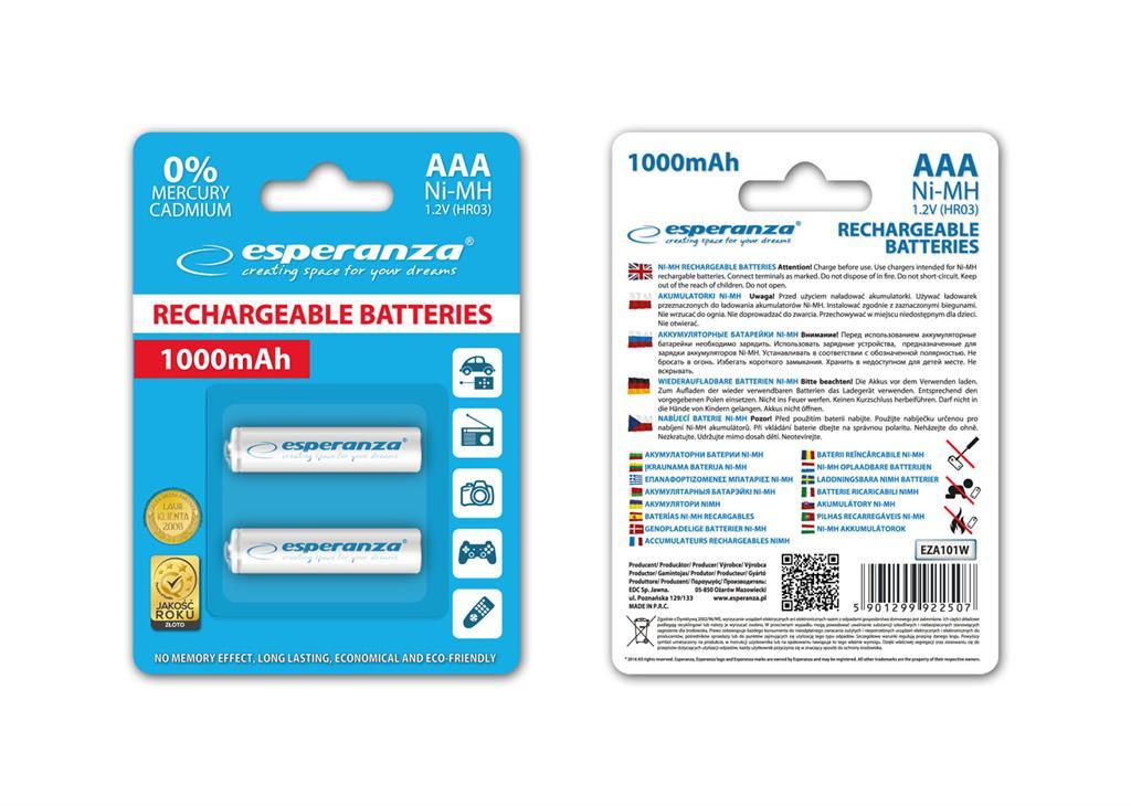 Esperanza EZA101W Nabíjecí baterie Ni-MH R03/AAA 1000mAh, 2 ks, blister