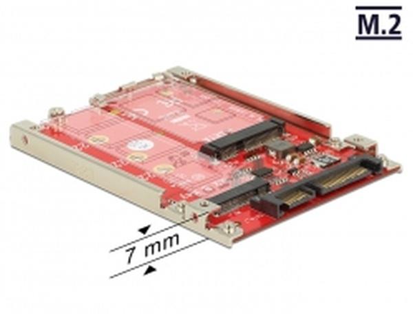 """Delock 2.5"""" Převodník SATA 22 pin > M.2 / mSATA s rámečkem 7 mm"""