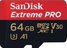 SANDISK EXTREME PRO microSDXC 64GB 100/90 MB/s A1 C10 V30 UHS-I
