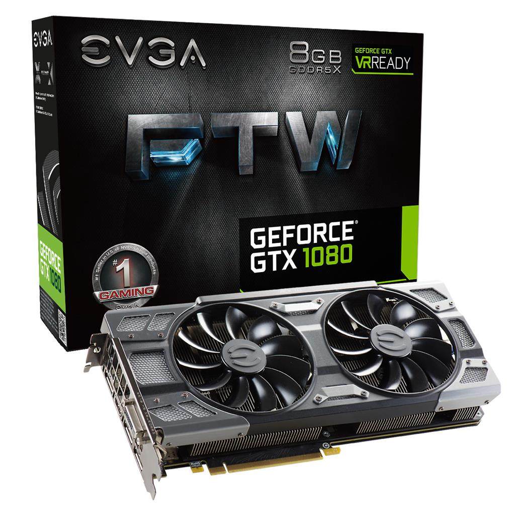 EVGA GeForce GTX 1080 FTW GAMING ACX 3.0, 8GB GDDR5X (256 Bit), HDMI, DVI, 3xDP