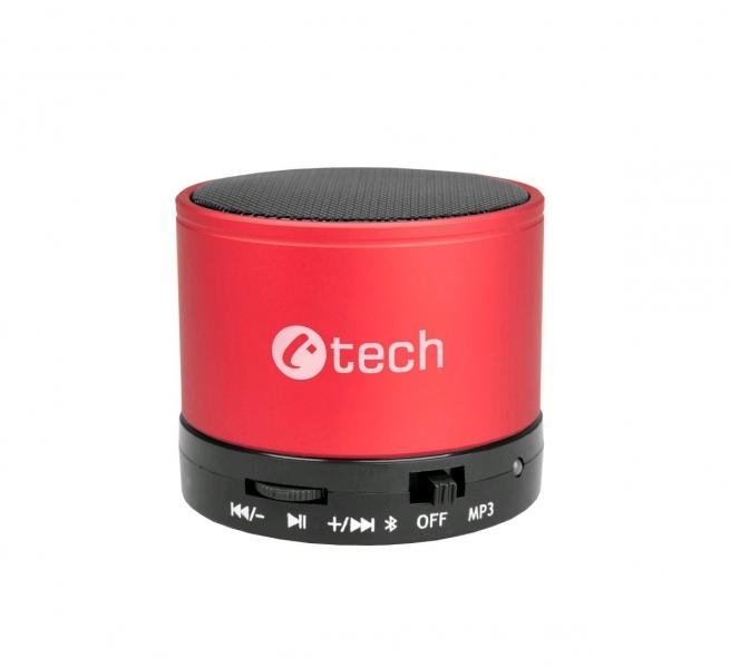 C-TECH reproduktor SPK-04R, bluetooth, handsfree, čtečka micro SD karet/přehrávač, FM rádio, červený