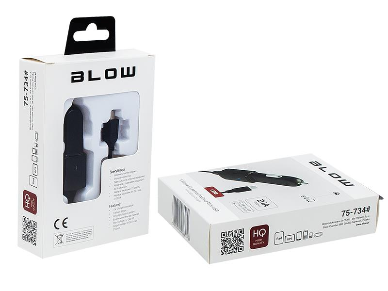 BLOW nabíječka do auta Mini USB 2.1A 12-24V