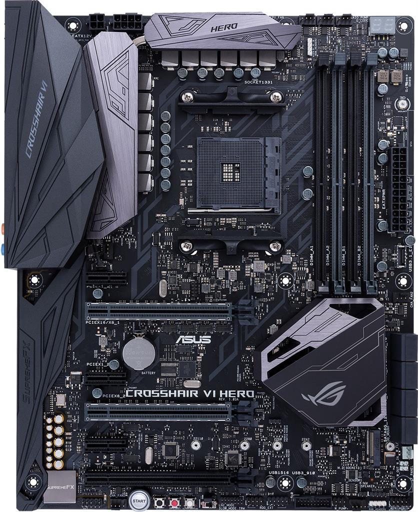 ASUS CROSSHAIR VI HERO, X370, DDR4 2133 MHz, 2 x PCIe 3.0, USB 3.0/2.0