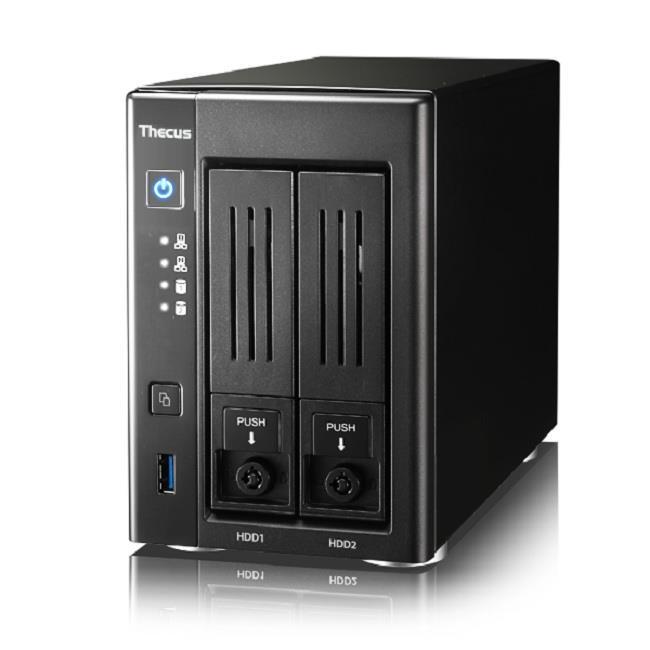 Thecus 2-Bay tower NAS SATA 1.6GHz 2GB DDR3 UltraHD 4K HDMI