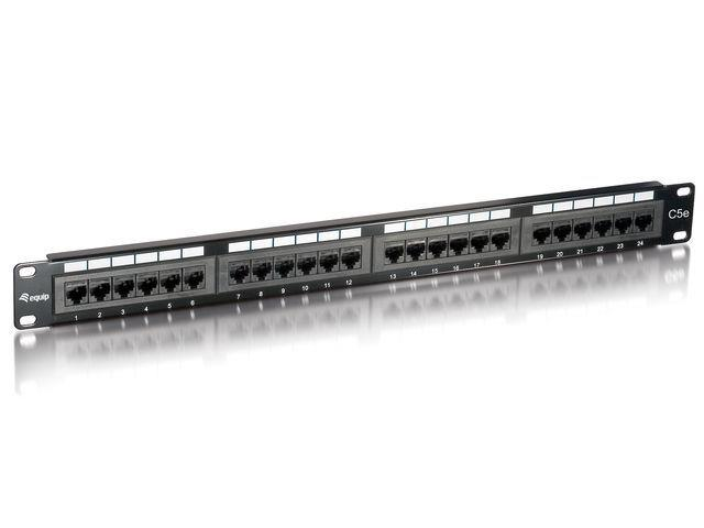 Equip 19'' patch panel 24 port 1U cat.5e, černý