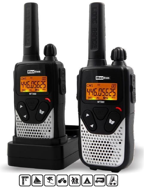 MaxCom WT360 vysílačka - 10 km, černo-stříbrná