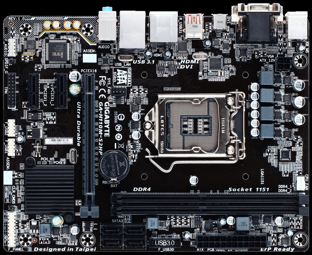 Gigabyte GA-H110M-S2PH DDR3, H110, DualDDR3-1600, SATA3, HDMI, D-Sub, mATX