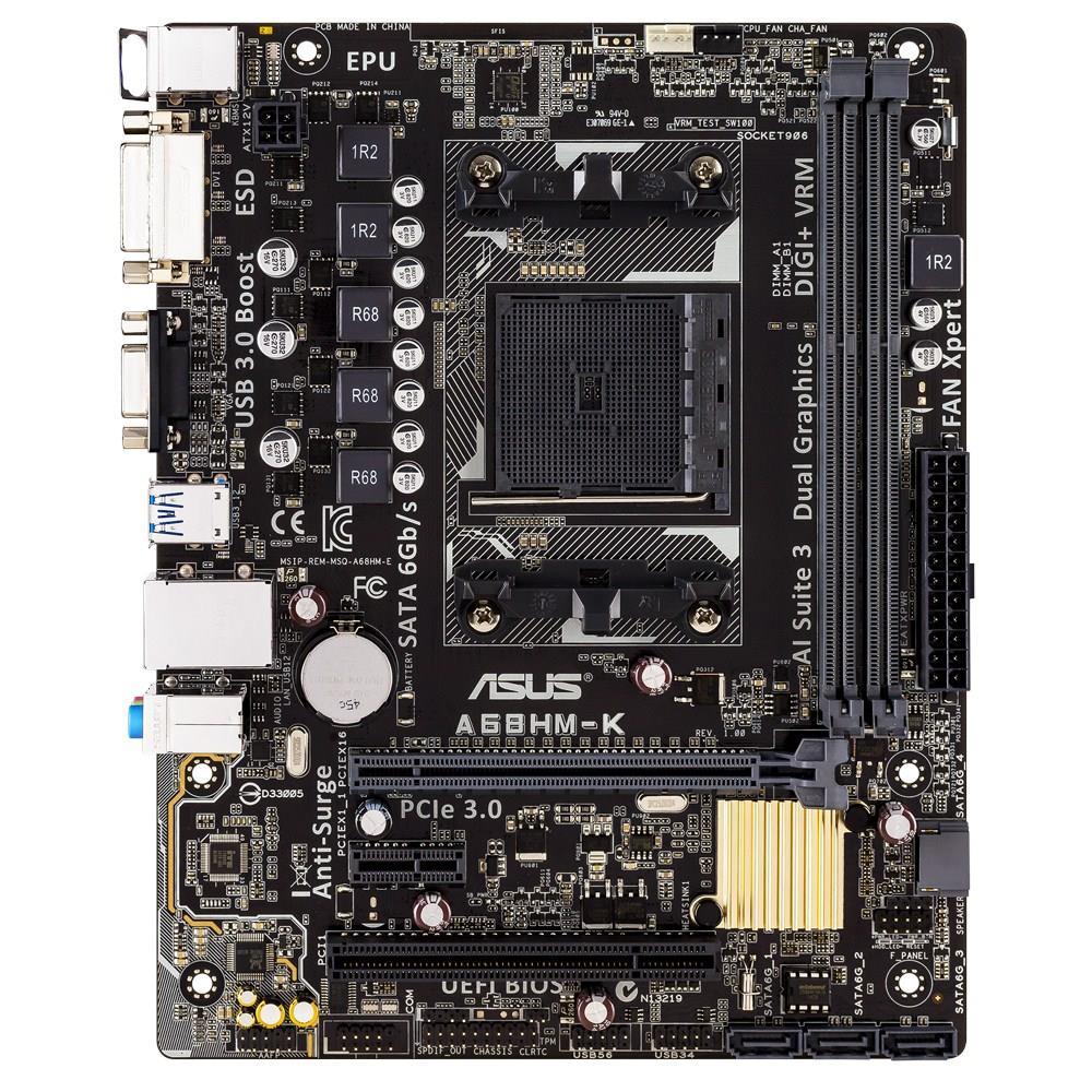 ASUS A68HM-K, AMD A68H, DualDDR3-2133, SATA3, D-Sub, DVI, mATX