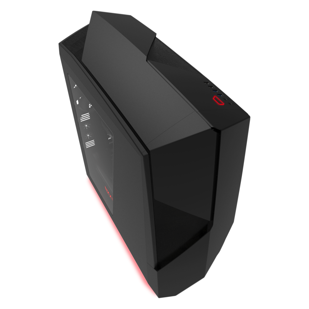 NZXT PC skříň Noctis 450 matná černá, červená LED