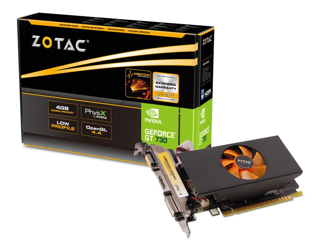 ZOTAC GeForce GT 730 Low Profile, 4GB DDR5, DVI-D, HDMI, VGA