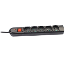 Tracer PowerGuard přepěťová ochrana (5 zásuvek), 5 m, černá