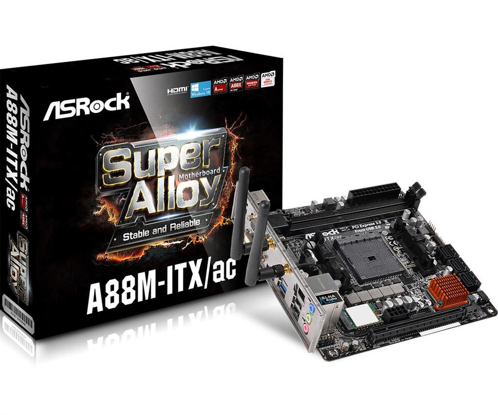 ASRock A88M-ITX/AC, A88X, DualDDR3-2133, SATA3, M.2, HDMI, DVI, D-Sub, mITX