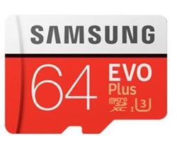 Samsung paměťová karta 64GB EVO Plus Micro SDXC UHS-I U3 Class 10 (čtení/zápis: 100/60MB/s) + SD adaptér