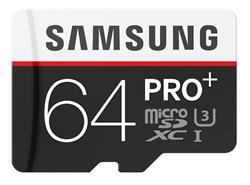 Samsung paměťová karta 64GB PRO Plus Micro SDXC UHS-I U3 Class 10 (čtení/zápis: 100/90MB/s) + SD adaptér