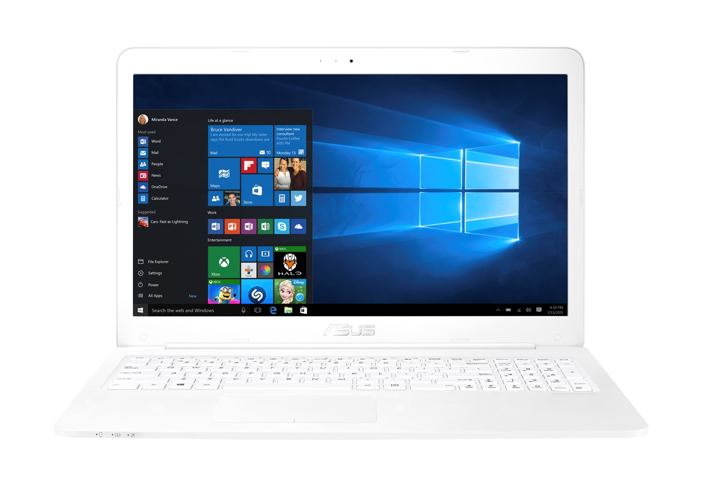 "ASUS E502NA-GO001T Celeron N3350/4GB/500GB/Share Graphics/15.6"" HD LED lesklý/W10 Home/White"