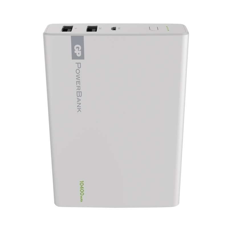 GP PowerBank 1C10A, záložní zdroj 10400 mAh, USB 2.4A + USB 1A, bílá